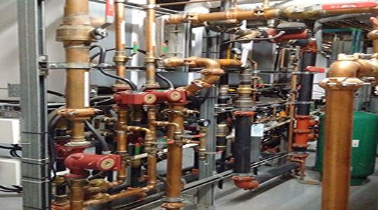 Copper pipes assembled in heating unit